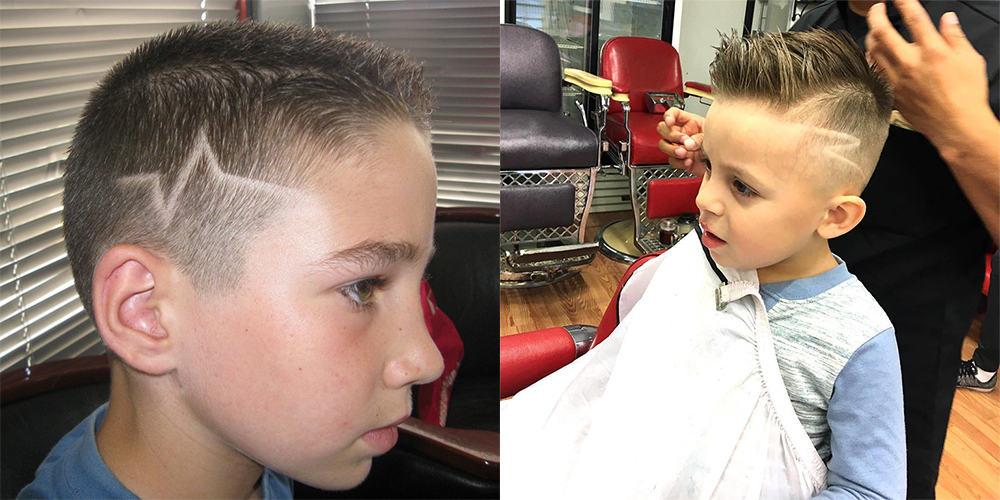 Haartattoo-Jungs trendige Haarschnitte