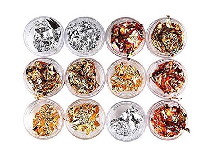 Beste metallische Nagelfolien: Sinen 12 Boxen Gold Silber Kupfer Regenbogenfolie Paillette