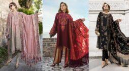 Maria B Neueste Winter Leinenkleider Fancy Shawl Collection 2020-2021
