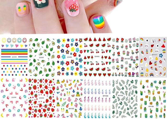 Nail Stickers & Nail Art Tattoos: IHUKEIT 3D Self-Adhesive DIY Nail Art