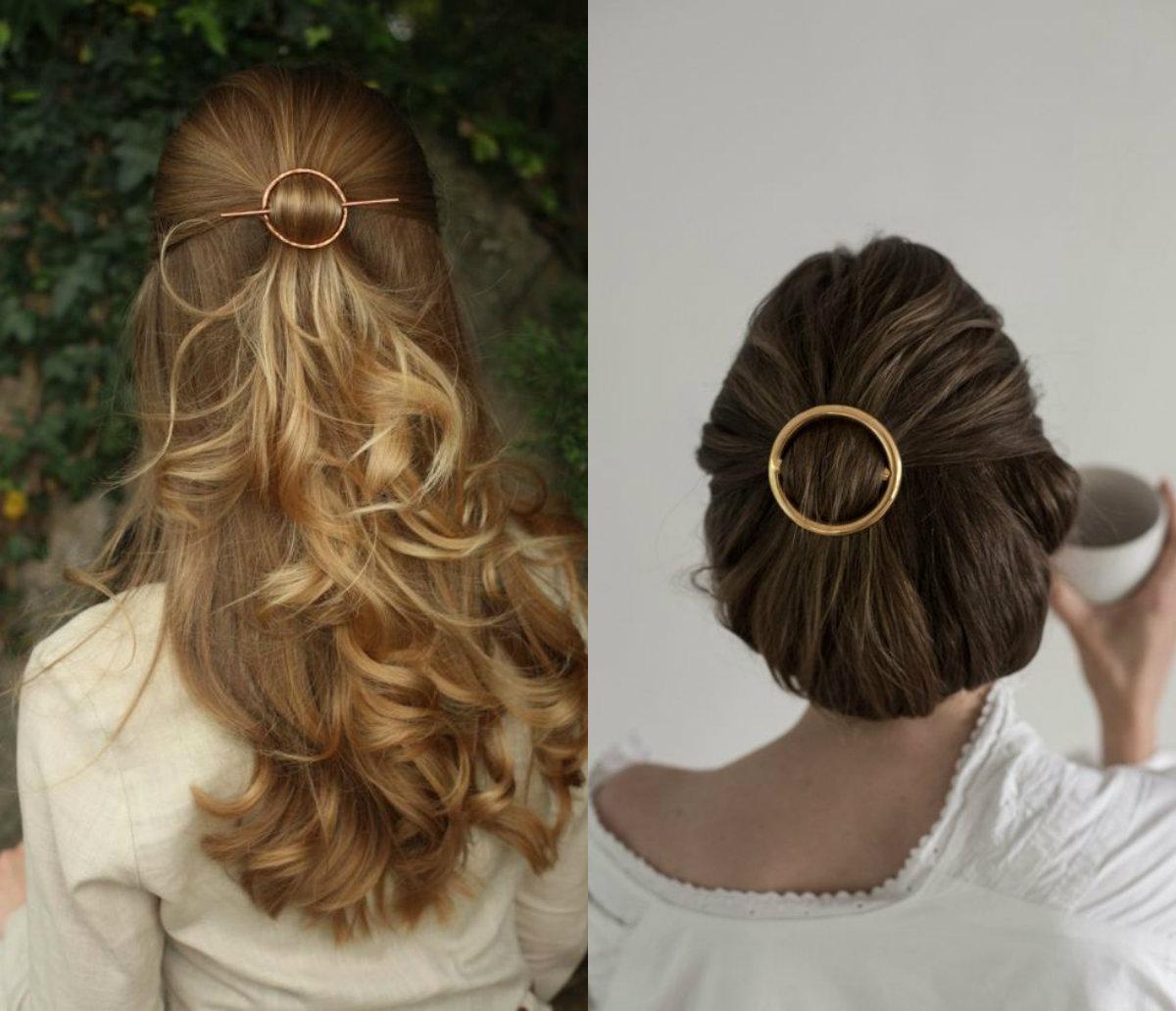 minimalistische goldene Haarschmuck für die Hochzeit 2018