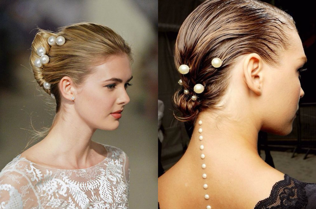 Perlen im Haar für Brautfrisuren 2018