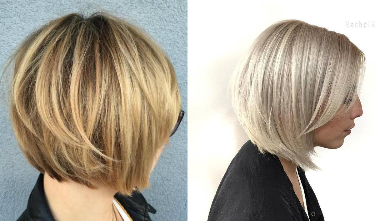 blonde geschichtete Bob-Haarschnitte 2018