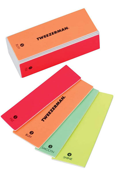 Beste Nagelpuffer: Tweezerman Neon Hot 4-in-1-Datei, Smooth & Shine Block