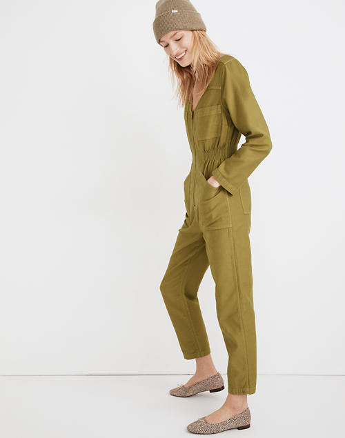 Kleidungsstückgefärbter Patch Pocket Overall Overall in gedämpftem Olivenbild 2