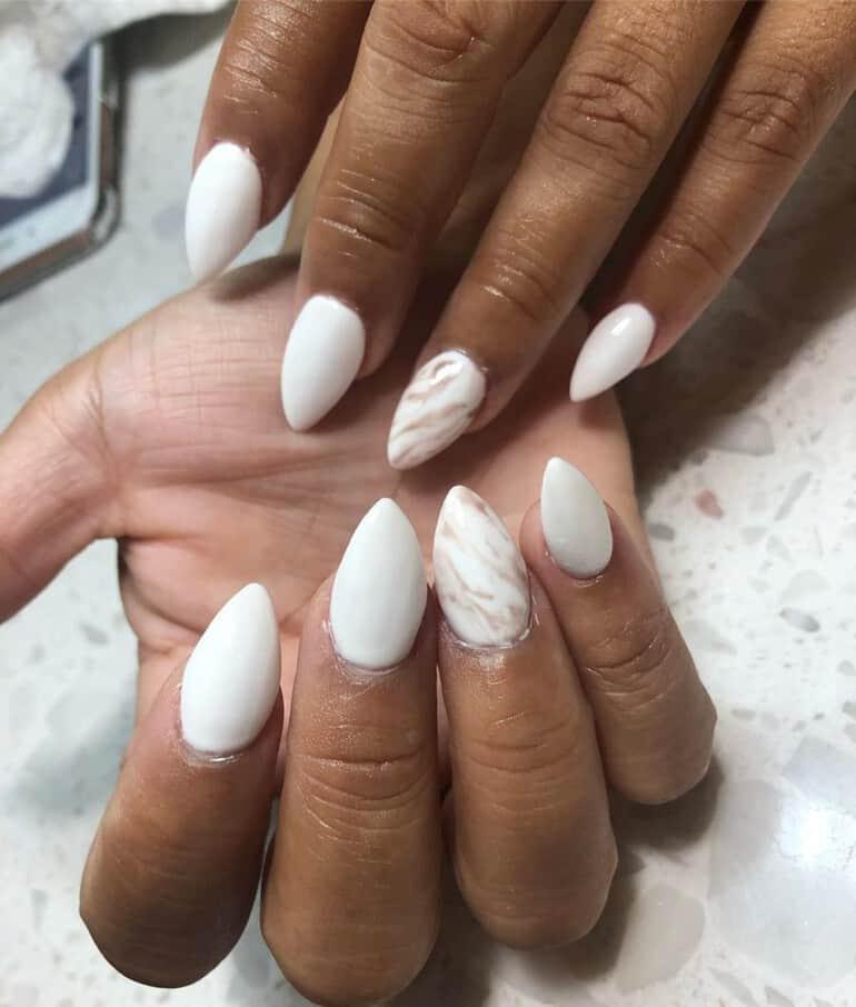 White among the popular nail polish colors 2021