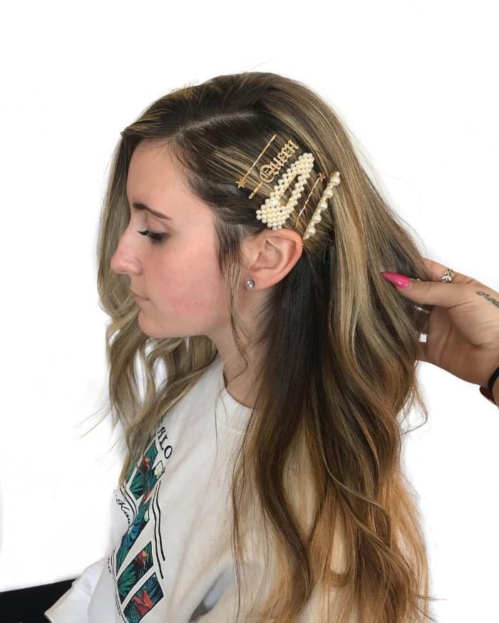 Haarspange Frisur für glattes Haar