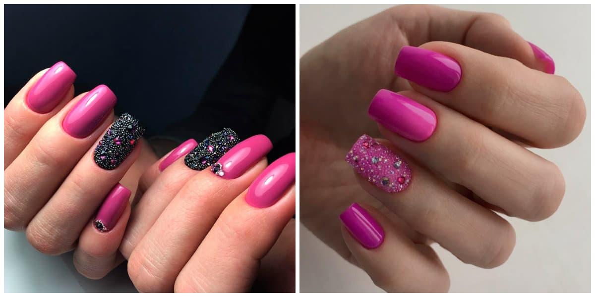 Pink Nails 2021: Pinkes Nageldesign auf kurzen Nägeln: dunkler Rosaton