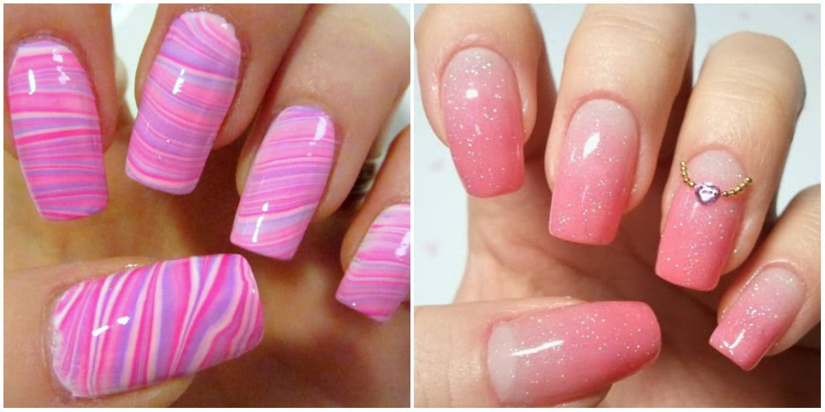 Pink Nails 2021: Pink Nail Design auf langen Nägeln