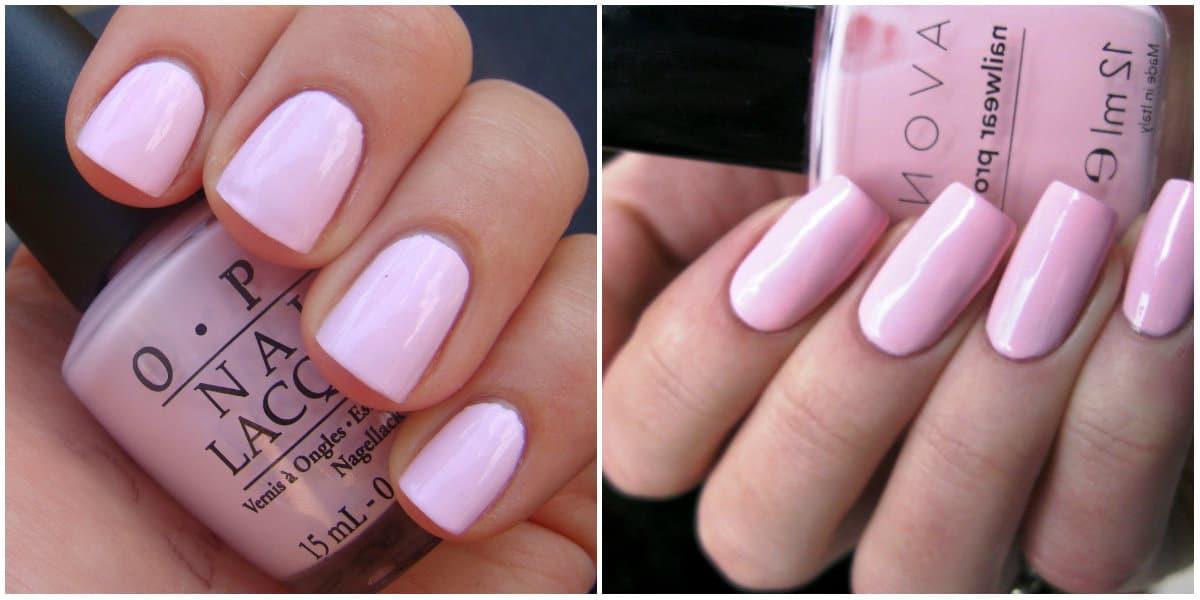 Pink Nails 2021: Pinkes Nageldesign auf kurzen Nägeln: sanfte rosa Farbe
