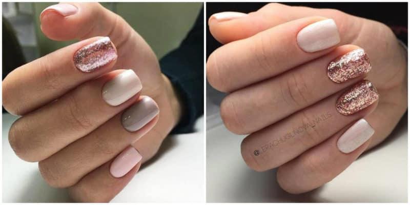 Kurze Nageldesigns 2021: Nackte Nagelfarbe mit Glitzer