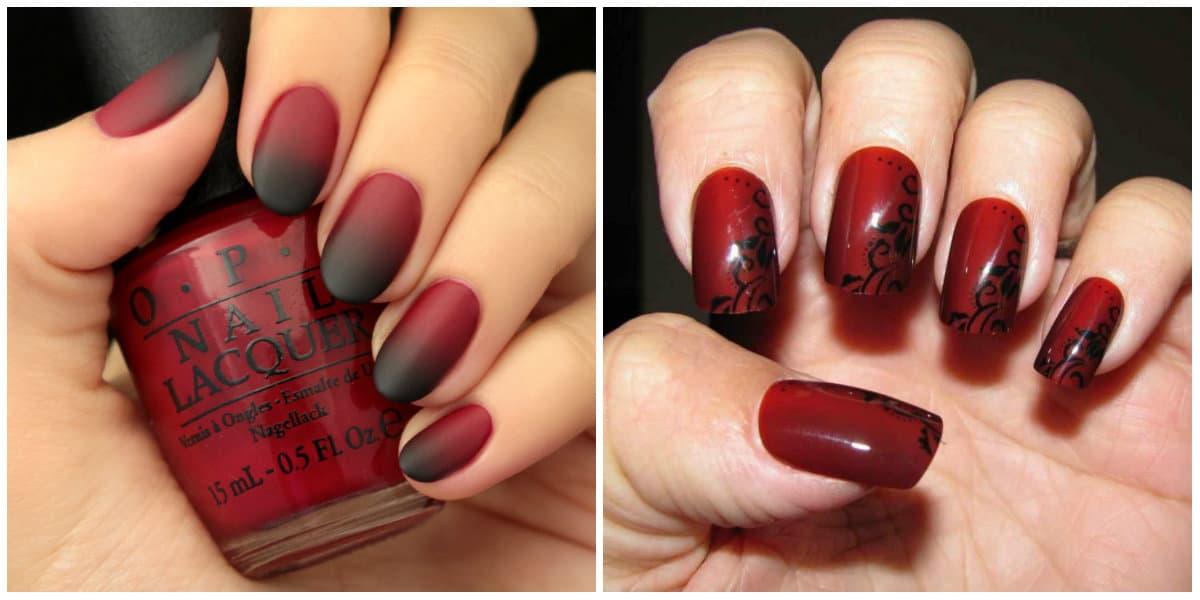 Schwarze Nägel 2021: Schwarz-Rot-Nageldesign: Ombre-Technik: Schwarz-Rot mit Ornamenten