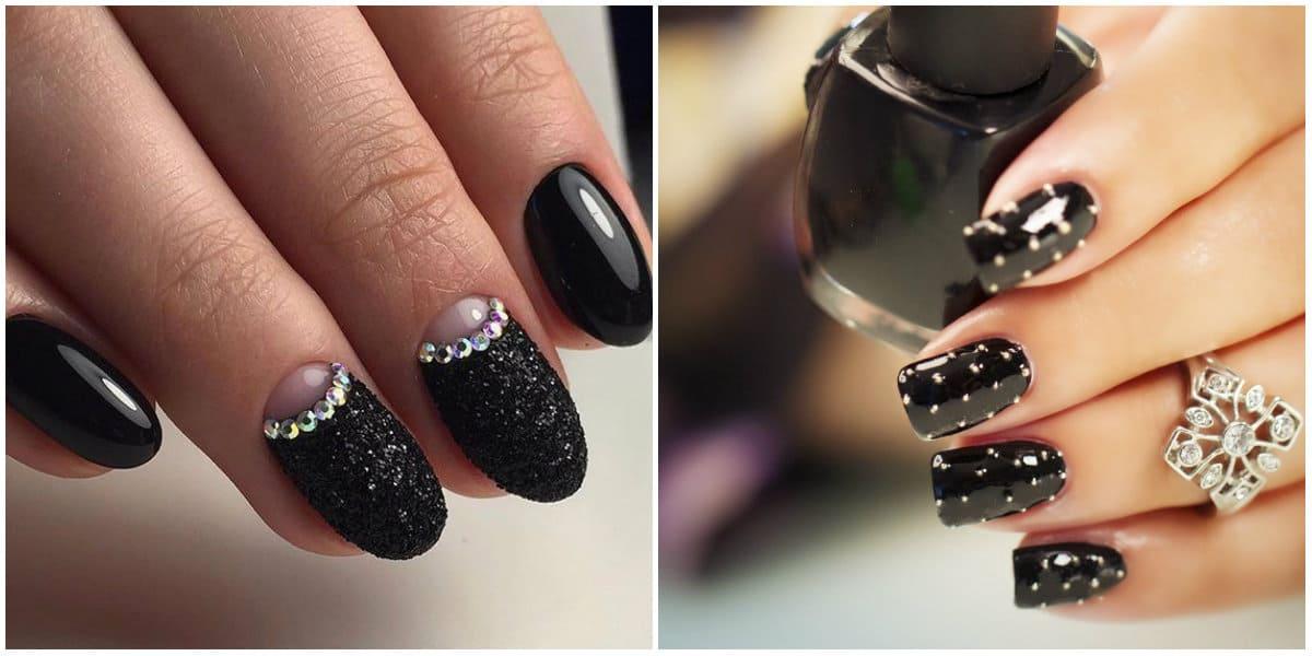 Black Nails 2021: Black Nail Design mit Glistern und Strasssteinen