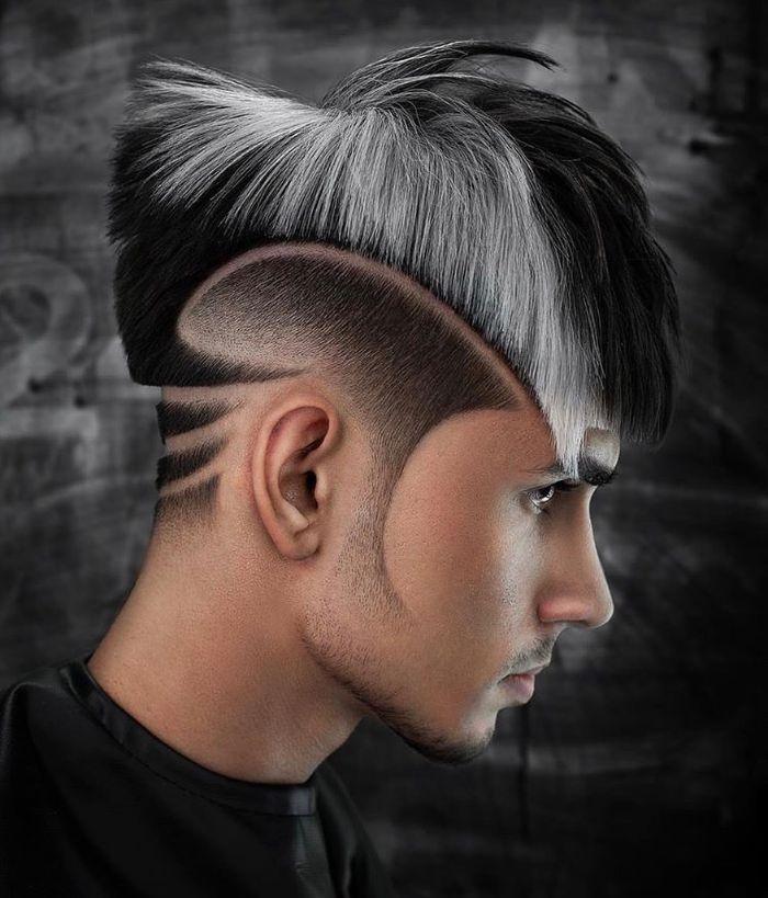 Hi Lo Fade + Linie in den Seiten + unordentliches Haar