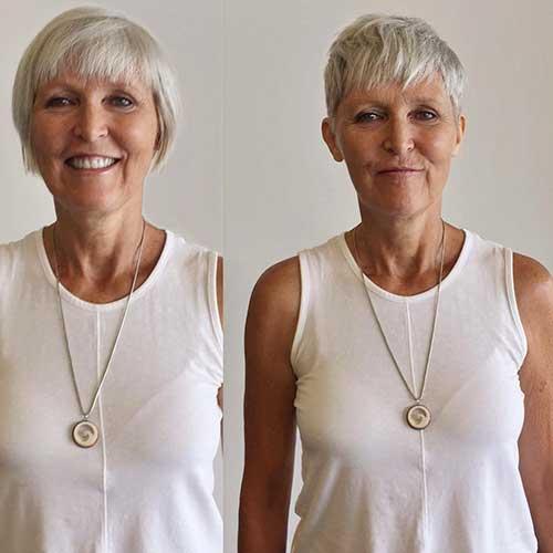 Kurze Frisuren für Frauen über 60 mit feinem Haar
