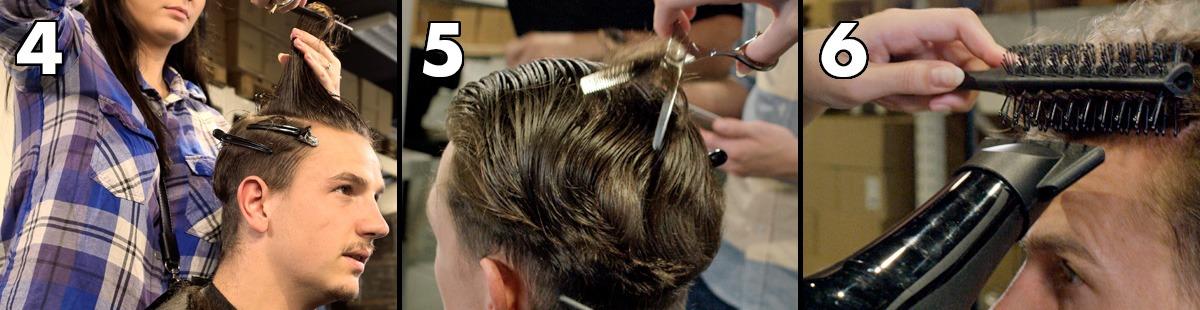 Schneiden Sie die Oberseite ab, verdünnen Sie die Haare und föhnen Sie sie trocken