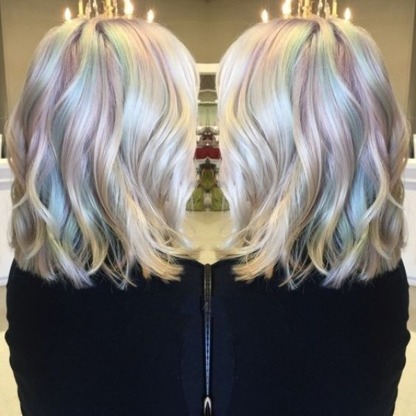 Colorful layered bob womens hairstyles 2021