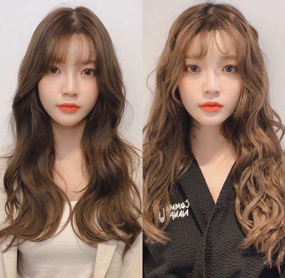 mittellange koreanische Frisur