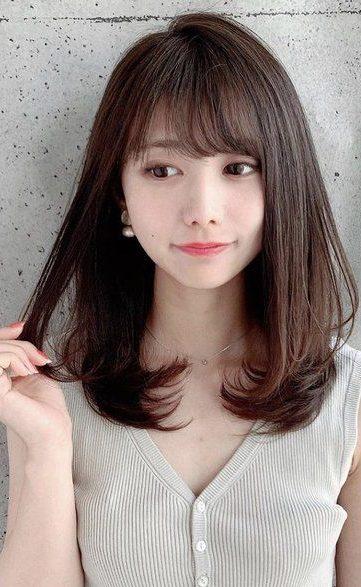 trendige koreanische schulterlange Haare