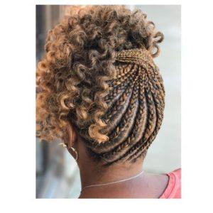 Criss gekreuzte Zöpfe auf hervorgehobenem Haar