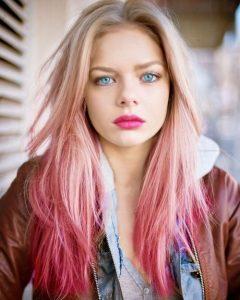 blondes und rosa ombre