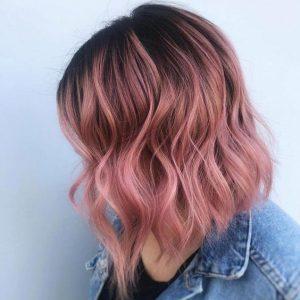 Lob geschnitten mit rosa Ombre