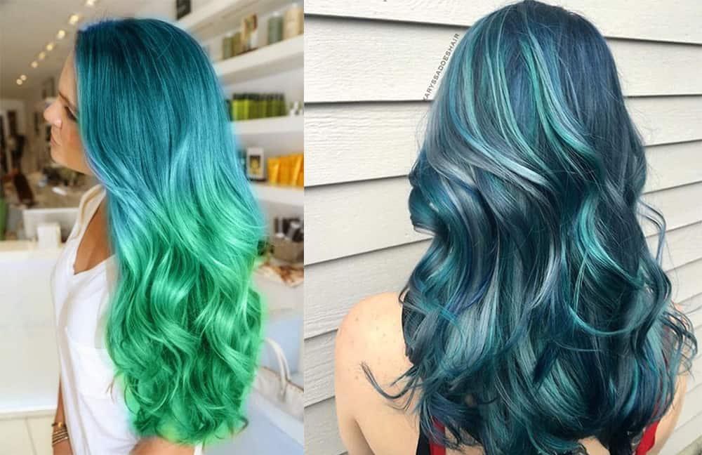 Grüne Haarfarbe-Fantasie-Haarfarbe-bunte-Haar-Ideen-Ozean-Haar-bunte Haarideen