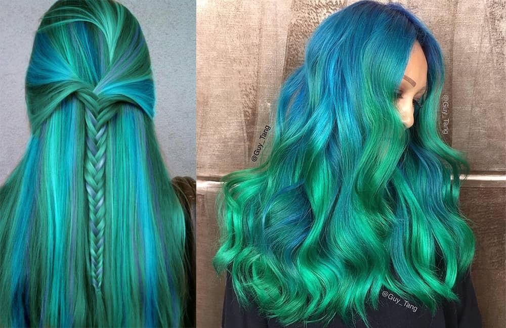 Grüne Haarfarbe-Meerjungfrau-Fantasie-Haarfarbe-bunte Haarideen