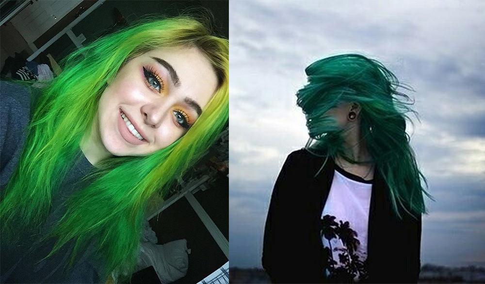 Grüne Haarfarbe-Fantasie-Haarfarbe-Grüne Haarfarbe-Fantasie-Haarfarbe