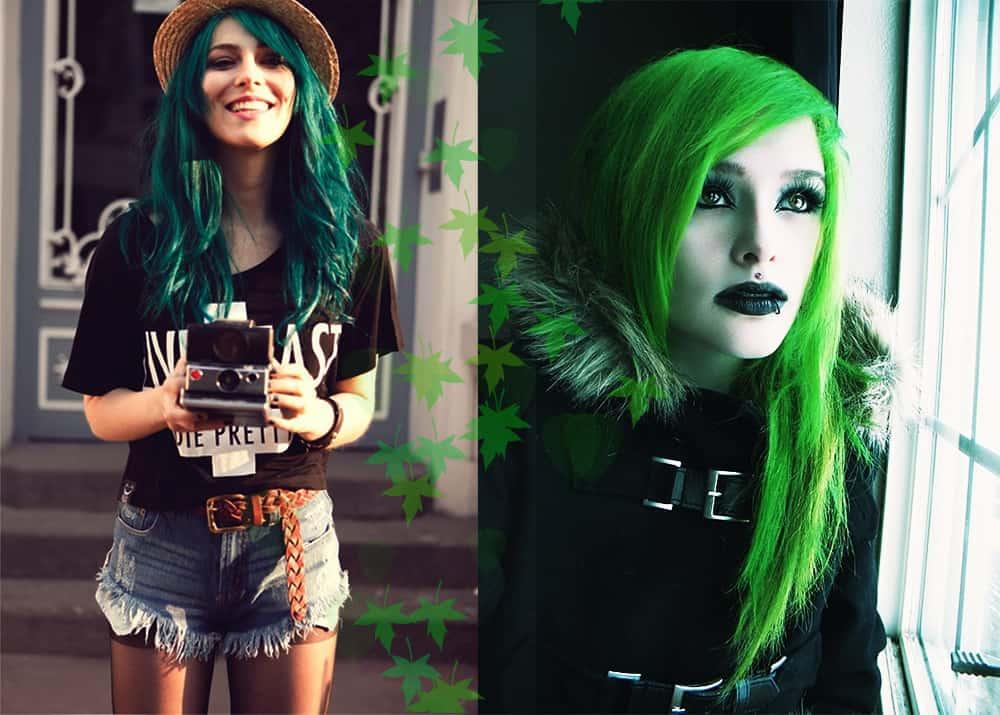 Grüne Haarfarbe-Fantasie-Haarfarbe-bunte-Haar-Ideen-Grüne Haarfarbe