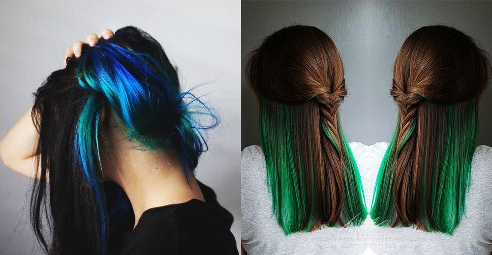 Versteckte-grüne-Haarfarbe-Fantasie-Haarfarbe-bunte-Haar-Ideen-bunte Haar-Ideen