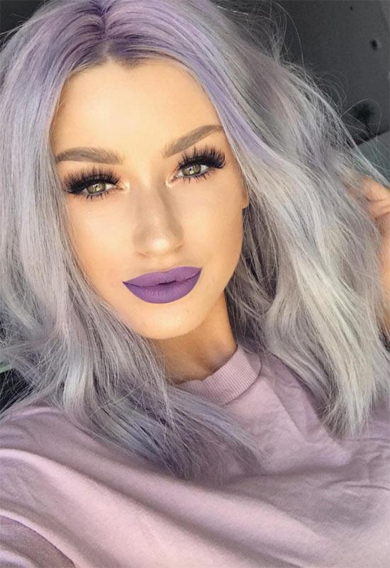 Wie man lila Lippen trägt
