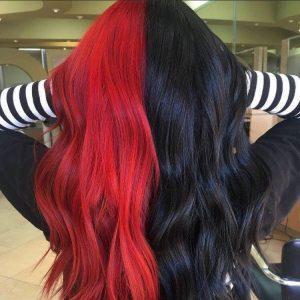 schwarz rote Hälfte