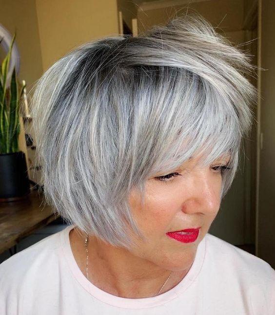 feines Haar kurze Frisuren für über 60