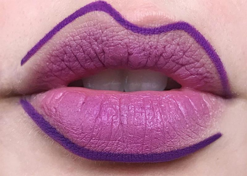 Wie man lila Lippenstift trägt