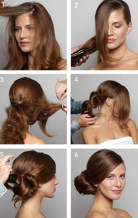 Schritt für Schritt Seite Brötchen Frisur für kurze Haare