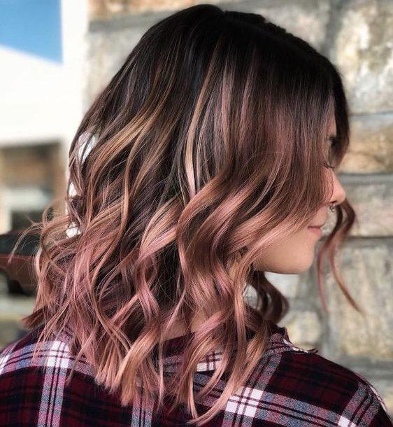 braune rosa braune Haarfarbe für kurzes Haar
