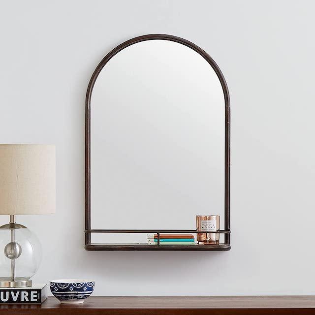 Stein & Balken moderner runder Spiegel mit Regal