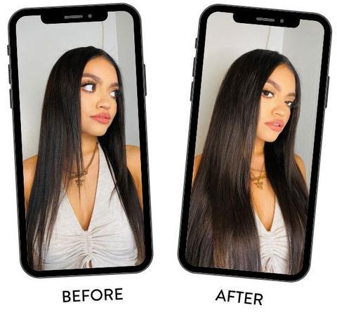 vor nach nach dem Einstecken von Haarverlängerungen