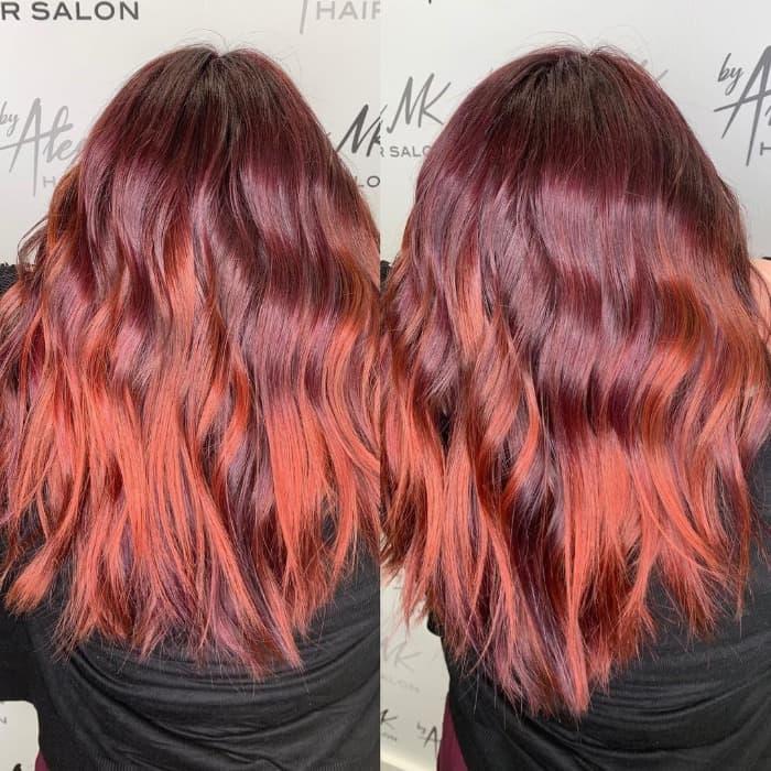 Lila Auburn Haarfarbe
