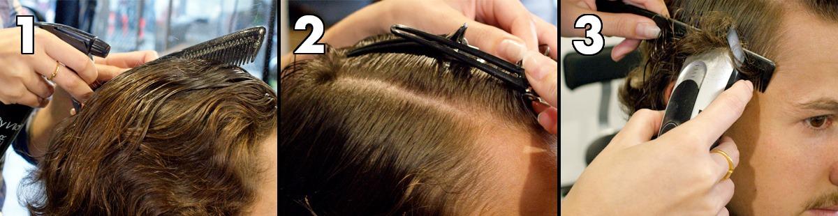 Waschen und aufräumen, Haare organisieren, tief abschneiden