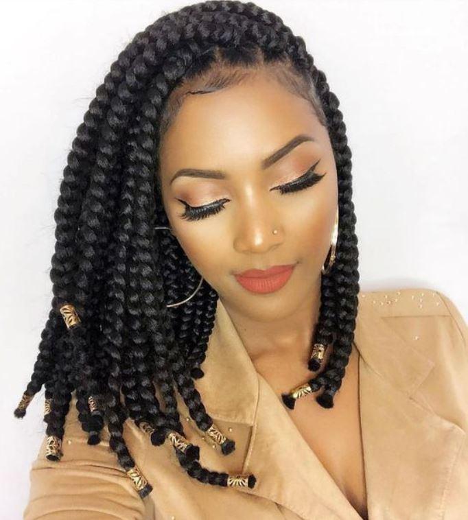 Beads Box Braids auf kleinem Haar
