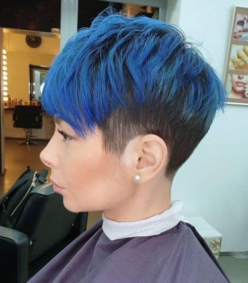 königsblaues blaues Ombre kurzes Pixiehaar