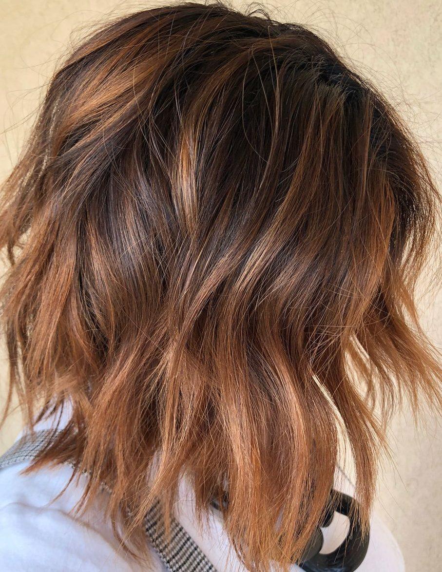 Karamell-Kupfer-Balayage kurzes Haar