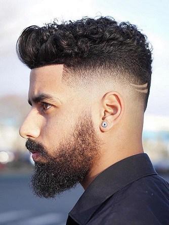 Seitenteil Fade mit Curly Top