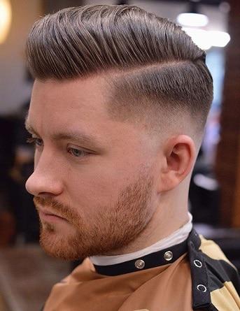 Hard Part Fade Comb Over Frisur