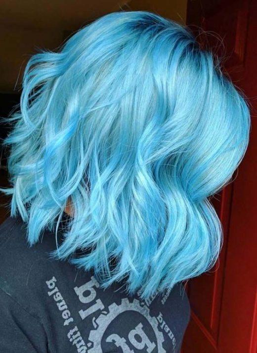 eisblaues blaues Ombre kurzes Haar