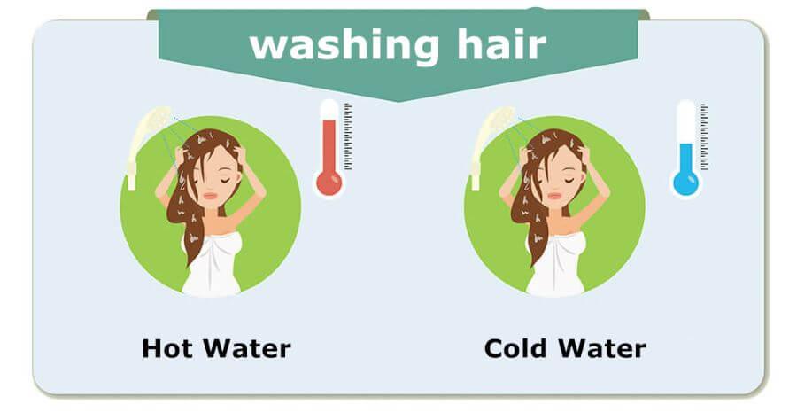 Haare mit kaltem Wasser ausspülen