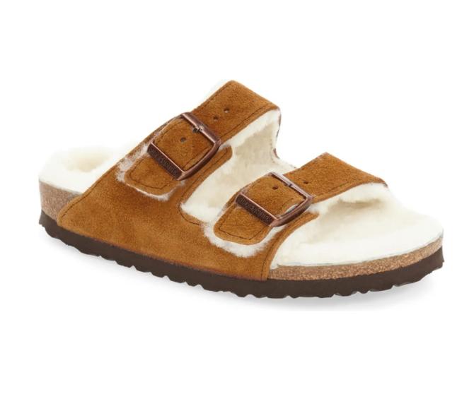 Arizona – Gefütterte Slide-Sandale aus echtem Lammfell