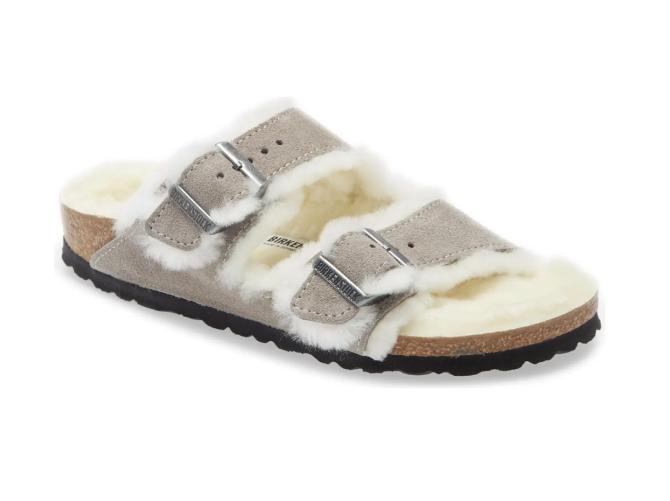 Arizona Slide Sandale aus echtem Lammfell in Steinmünze
